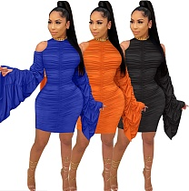 Women's Sexy Hip Wrap Pleated Flared Sleeve Dress KY-3025