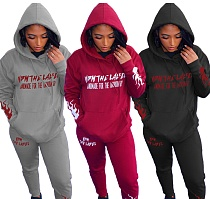 Winter Letter Printed Hoodie Sweatpants Two-piece Set QY-5212