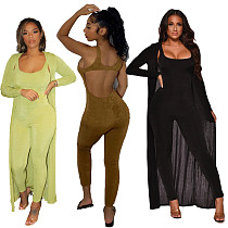 Women's Solid Long Coat+Back Hollowed-out Jumpsuit Set SD-2966