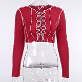 Contrast Line Front Hollowed-out Lace Up Long Sleeve Blouse FL-20417