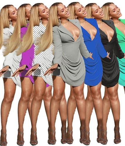 Women's Long Sleeves V-neck Pleated Formal Dress SD-2969