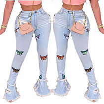 Fashion Butterfly Embroidered Flounce Edge Torn Jeans HSF-2329