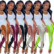 Hot Style Tight Middle Waist Slit Shiny Leather Pants LSD-9006