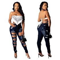 Trend Hand-worn Middle Waist High Stretch Jeans WZ-8326