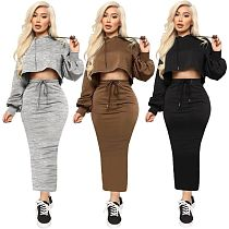 Casual Solid Color Cropped Hoodie Package Hip Skirt Set MOF-5187