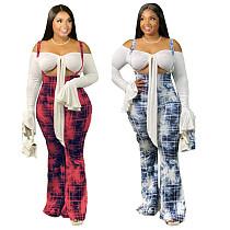 Fashion Printed Slim Middle Waist Halter Bell-bottom Pants MX-6015