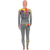 Ink-jet Printed Long Sleeve Blazer Skinny Pants Two-piece Set CYAO-8598