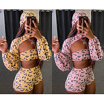 Leopard Print Hooded Mini Shawl+Chest Wrap Shorts 3 Pieces SN-8535