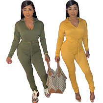 V-neck Hooded Lace Up Crop Top Leggings 2 Pieces Suit NIYA-8016