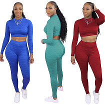 Fashion Fish-scale Long Sleeves Crop Top Sweatpants Outfits NIYA-8011