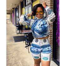 Dollar Print Long Sleeve Hoodie Tight Shorts 2 Piece Suit LS-0328