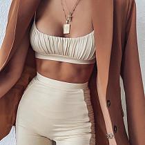 Sling Wrap Bra Solid Fitness Shorts Suit SXE-1736974
