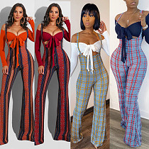 Sexy Slim Long Sleeve Crop Top+Plaid Strap Trousers Set FSX-188