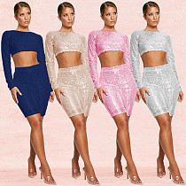 Long Sleeve Crop Top Knee Length Shorts Clubwear Lining Suits BY-3273