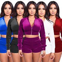 Fall Velvet Long Sleeve Zipper Crop Top+High Waist Shorts Set BY-3676