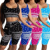 Fashion Printed Sport Sleeveless Bra+Knee Length Shorts Set YSF-369