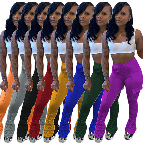 Casual Solid Color Multiple Pockets Pleated Sweatpants MK-3018