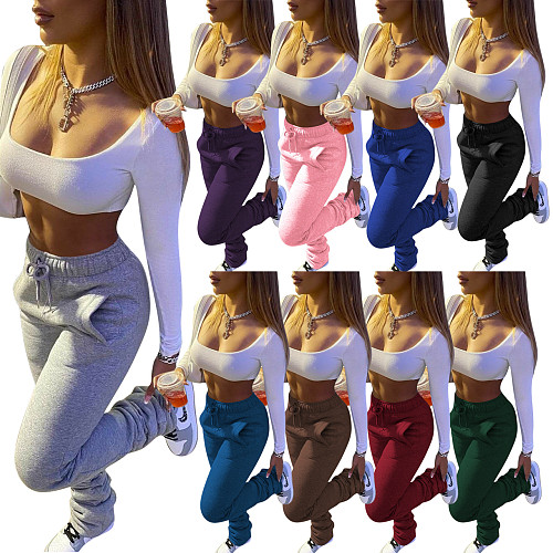 Thickened Sweater Fabric Sports Drawstring Stack Pants with Pockets CH-8139
