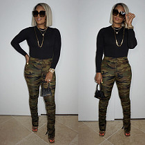 Hot Sale Camo Women Military Army Style Pleated Pants BER-8032