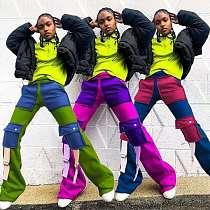 Fashion Autumn Multi Pocket Collage Mid-waist Versatile Pants LIN-8834
