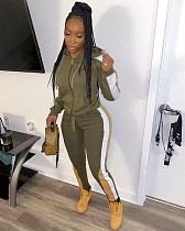Plus Size Collared Long Sleeve Zipper Hoodie Sweatpants Set TB-5198