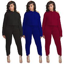 One-side Off-the-shoulder Hoodie Irregular Pants Set SY-9056
