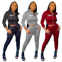 Lucky Printed Warm Zipper Hoodie Pants Two Piece Set OYF-8229