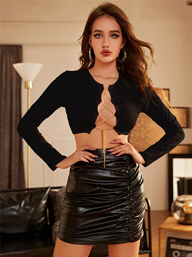 Metal Chain Sexy Navel Exposed Long Sleeve Tops RS-1339