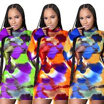 Women Multicolor Print Sexy Long Sleeve Boycon Dress YD-8297