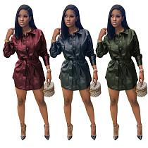 Women's Stretch Slim Single-breasted PU Leather Dress TR-1075