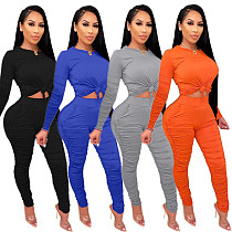 Round Neck Long Sleeve T-shirt Stacked Pants 2 Piece Set MYP-8944