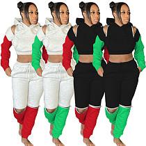 Color Contrast Zipper Splicing Cropped Hoodie Sport Pants Set MEM-8303