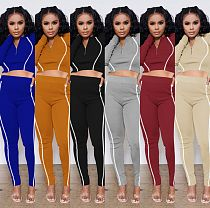 Autumn Women Skinny Solid Long Sleeve Crop Top Pants Tracksuit MA-385