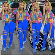 Tie-dye Hooded Zipper Top Solid Color Blazer Pants Set MOY-5278