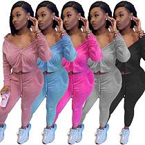 Velvet Solid Zipper Hoodie Sweatpants Sports Jogging Suit NM-8328