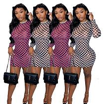 Grid Printed See-through Gauze Long Sleeves Dress PN-6622