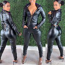 PU Leather Full Sleeve Zipper Bandage Coat Pants Outfit MEM-8308
