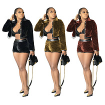 Korean Suede Patchwork Coat Shorts Two-piece Set MOF-5188
