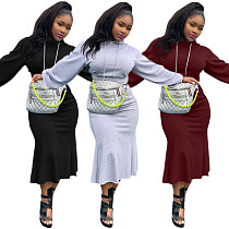 Women Solid Long Sleeve Sweatshirt Midi Skirt Set LP-6250