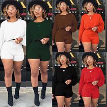 Sweater Long Sleeve Loose Crop Top High Waist Shorts Set FSX-67