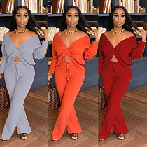 Women's V-neck Tied Long Sleeve Crop Top Loose Pants Set CHY-1265