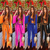 XS Women's Line Stitching Lace-up Crop Tops Pants Outfit MAE-2064
