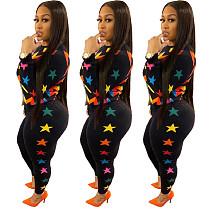 Stylish Geometric Star Patterned T-shirt Pencil Pants Set ASL-6218