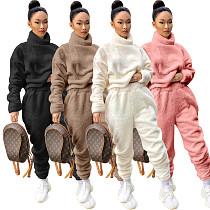 Winter Solid-colored Two-faced Velvet Turtleneck Pants Suit ASL-6310