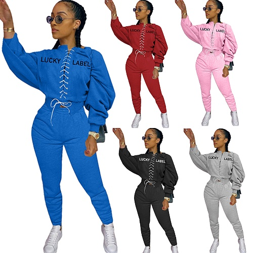 Embroidery Long Sleeve Cross-band Top Jogger Pants Tracksuit YLY-064