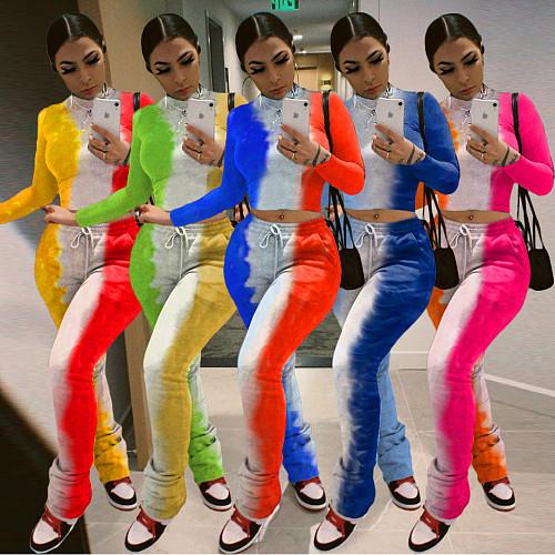 Tie-dye Gradual Print Long Sleeve Crop Top Sweatpants Outfit KSN-8050