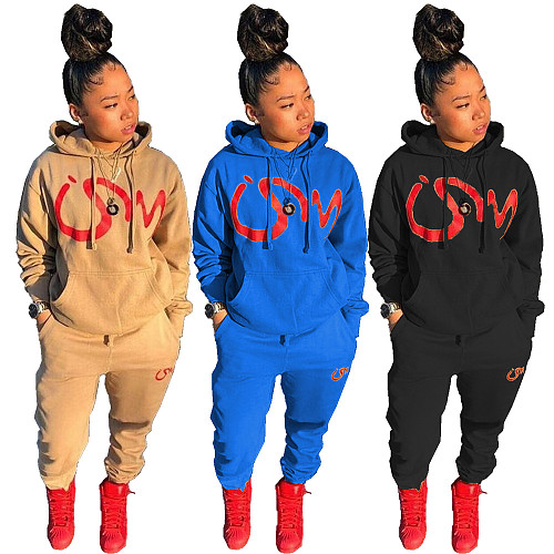 Women's Printed Long Sleeve Hoodie Sweatpants Outfit NM-8331