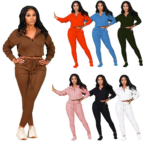 Autumn Women Casual Solid Long Sleeve Top Pants Tracksuit YLY-163
