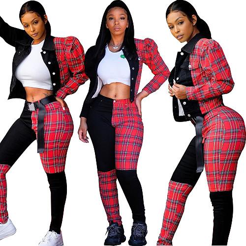 Autumn Contrast Plaid Pattern Jacket Pants 2 Piece Set YH-5188