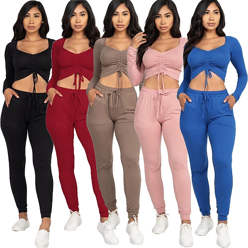 Sexy Long Sleeve Drawstring Top Skinny Pants Two Piece Set YMT-6185